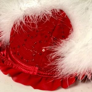 La SENZA NWT Red Sequined Fluffy Christmas Bra